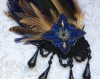 Gypsy Blue Star Beaded Feather Halloween Gothic Hair clip