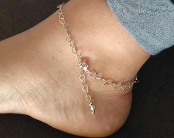 Bracelet de cheville en argent sterling 925 avec breloque en cristal Swarovski - Coeurs