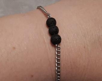 Bracelet diffuseur - acier inoxydable - pierres de laves noires - aromathérapie - huiles essentielles