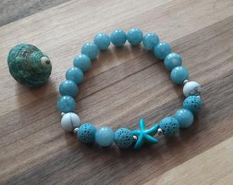 Bracelet «la mer» en pierres fines turquoise avec étoile de mer et billes en acier inoxyable