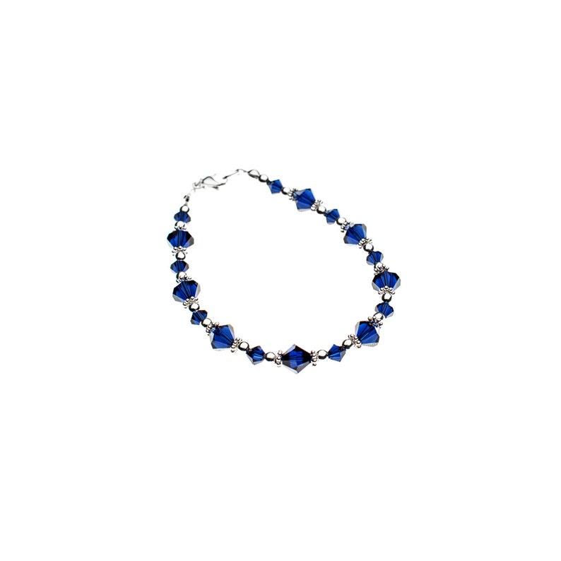Bracelet bleu marine en cristal Swarovski et argent sterling 925