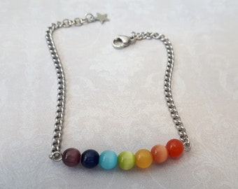 Bracelet arc-en-ciel perles oeil de chat et acier inoxydable
