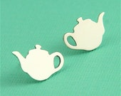 Silver Tiny Whimsical Teapot Studs