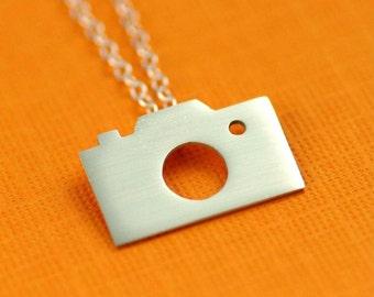 Camera Silhouette Necklace in Silver