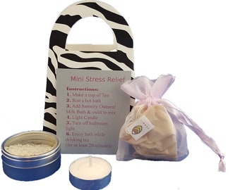 Mini Stress Relief Kit, Gifts for Her, Serenity Oatmeal Milk Bath Salts, Relaxation Tea, Tea Light Candle, Valentine's Gift, Spa, Bath