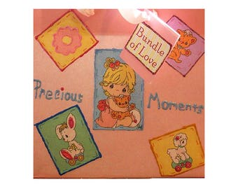 Precious Moments, Paper Gift Bag, Pink, Gift for her, Children Gift, Girl Baby Shower, Large Gift Bag, Fabric Panel Bag, Gift Tag
