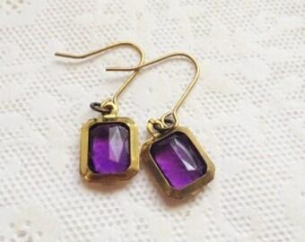 Vintage brass purple earrings