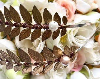 Wire Wrapped headband with faux Pearls  for brides and engagement and pregnancy photoshoots