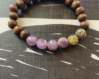 Yellow Turquoise and Amethyst  beaded mala bracelets for women,Yoga Gift for Her, Mala Bead