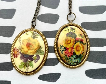 Brass setting with vintage cabochon Brass Necklace