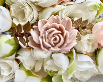 Wire Wrapped Headband with flower  for brides and engagement and pregnancy photoshoots