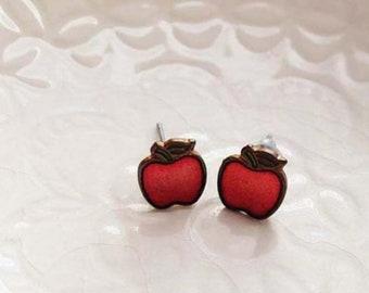 Vintage brass apple earrings