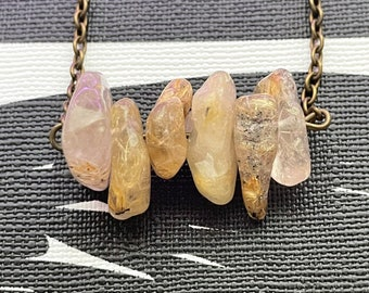 Golden quartz dainty stone  crystal gemstone Necklace