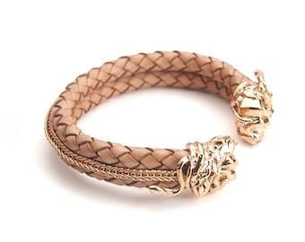 Woven Leather Torque Cuff