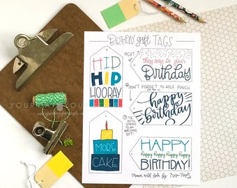 Hand Lettered Happy Birthday Gift Tags - Hand drawn printable gift tags to add to any birthday gift