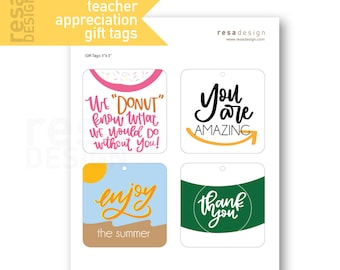 Teacher Appreciation Gift Tags Printable - Printable Gift Tags for Gift Cards - Thank you Tags