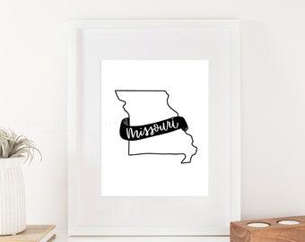 Missouri Printable Hand Lettered  - Wall Art for Missouri lovers or Missouri Home Decor Print