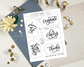 Hand Lettered Gift Tags to Celebrate - Hand drawn printable gift tags to add to any occasion gift - Happy Birthday - Cheers - Congratulation