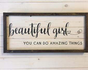 Beautiful Girl Sign | Nursery Decor | Girl Sign | Solid Wood Painted Sign | Baby Girl Nursery Decor | A Simple Impression | Framed Sign