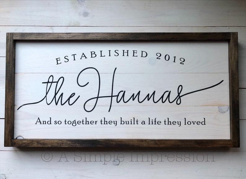 Wedding Gift Custom Established Family Sign  Wedding Modern image 0