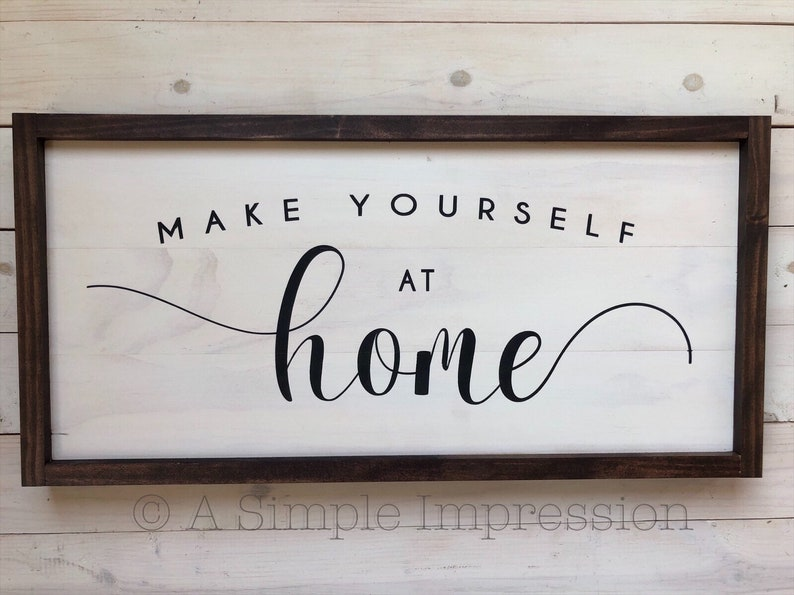 Distressed Make Yourself at Home Sign  Farmhouse Wall Decor  image 0