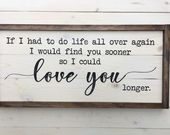 Love you Longer Wedding Gift Painted Sign | Wedding Farmhouse Decor | Sign | Farmhouse Shiplap Sign | Distressed Wood Signs | Anniversary