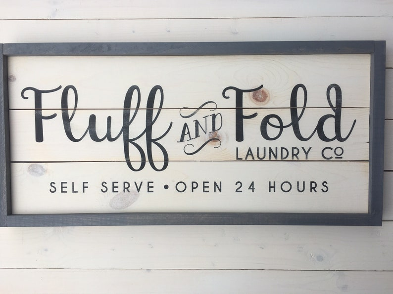 Ready to SHIP Fluff and Fold Laundry Room Sign  Farmhouse image 0