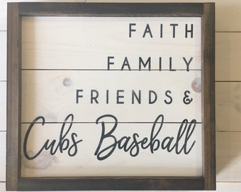 Ready to Ship | Chicago Cubs Baseball Sign | Farmhouse Decor | Grandparent Gift | Rustic Wall Decor | Baseball Decor | Cubs Baseball Gift
