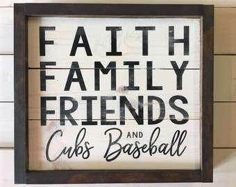 Father's Day Gift Ready to Ship | Chicago Cubs Baseball Sign | Farmhouse Decor | Grandparent Gift | Rustic Wall Decor | Baseball Decor Cubs