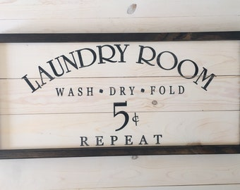 Farmhouse Laundry Room | Laundry Room Decor | Wash Dry Fold Wood Sign | Rustic Decor | Laundry Room Wall Decor | A Simple Impression