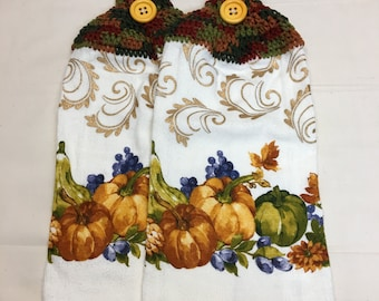 Fall Harvest  Kitchen or Hand Towel set of 2