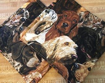 Dog Print Pot Holders set of 2