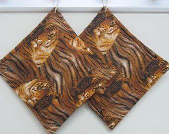 Tiger Print Pot Holders set of 2