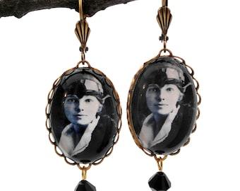 Amelia The Aviator Brass Earring Amelia Earhart Jewelry