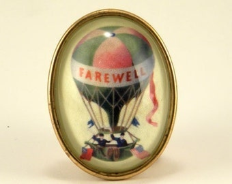 Farewell vintage inspired hot air balloon brass cameo brooch victorian steampunk boho
