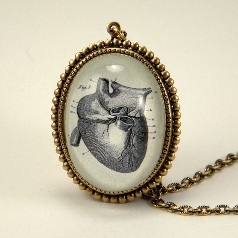 If I Only Had A Heart Anatomical Heart Engraving Necklace. image 0