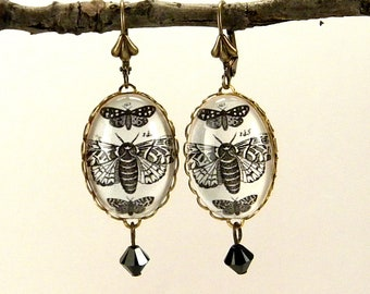 Moths, Moth, Moths Earrings With Vintage Victorian Engraving