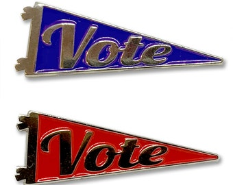 Blue or Red Your Vote Counts. Enamel Vote Pennant Pins
