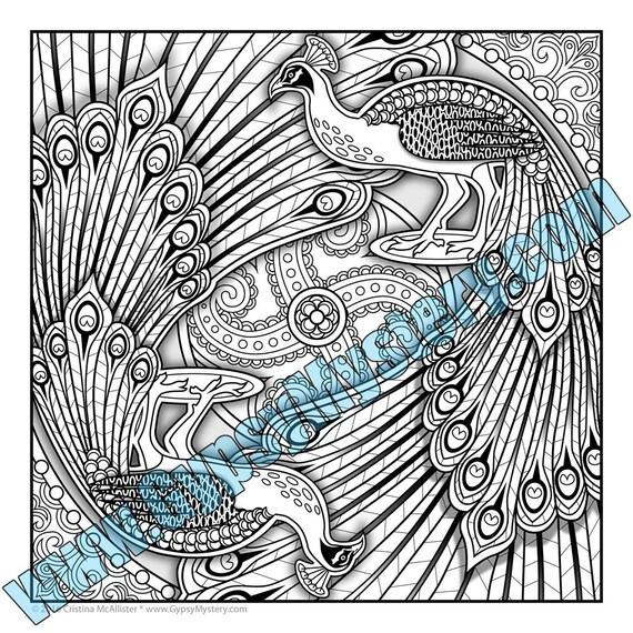 Single Coloring Page Prancing Peacocks Mandala Design Etsy
