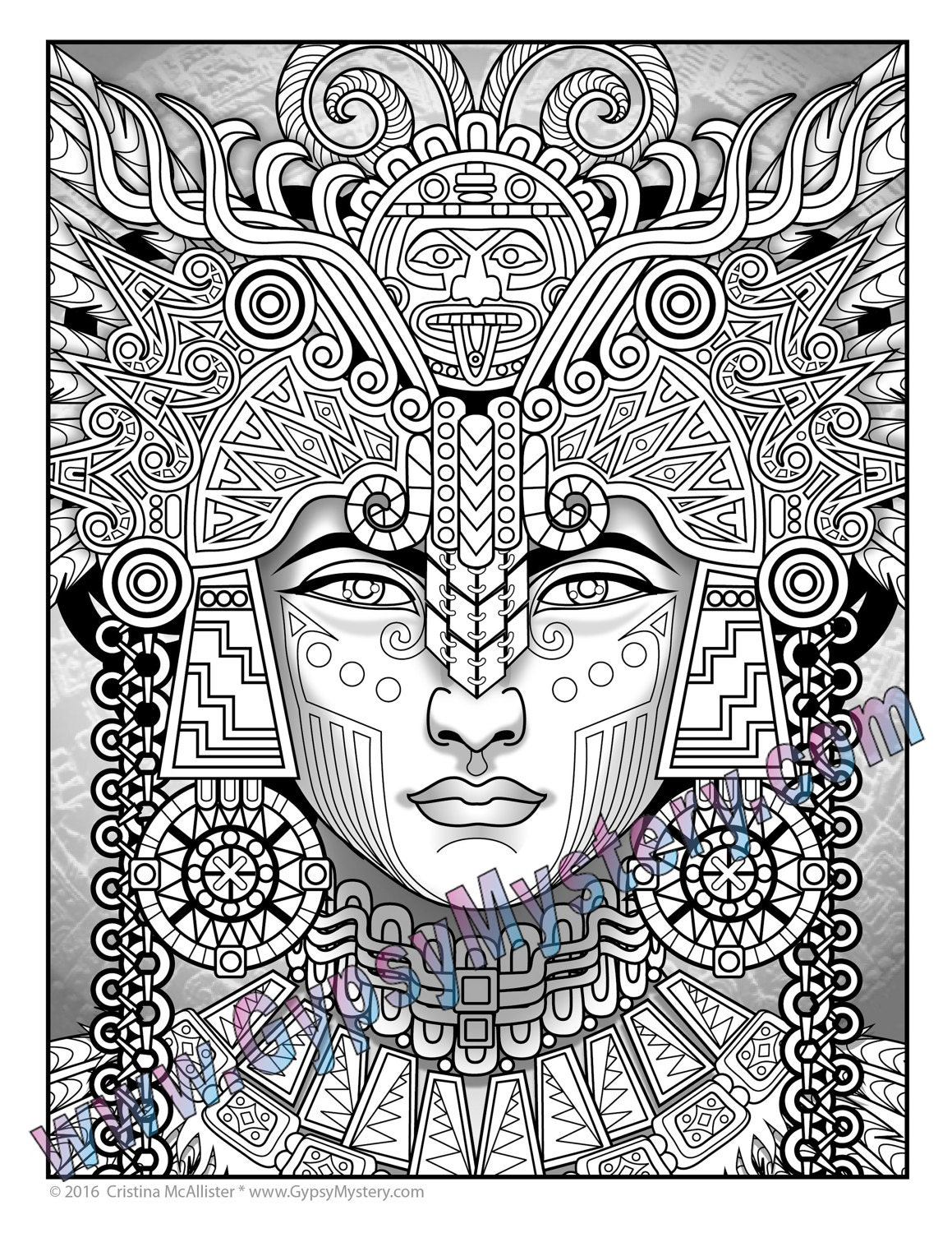 mayan coloring pages Single Coloring Page Mayan Astrologer from the Magical | Etsy mayan coloring pages
