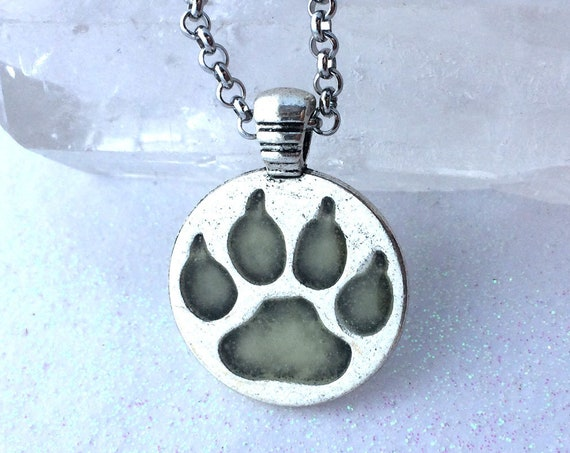 Glow Wolf Paw Pendant Aqua Silver