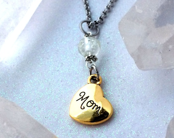 Glowing Mom Galaxy Glow Glass Orb Necklace with Heart Charm