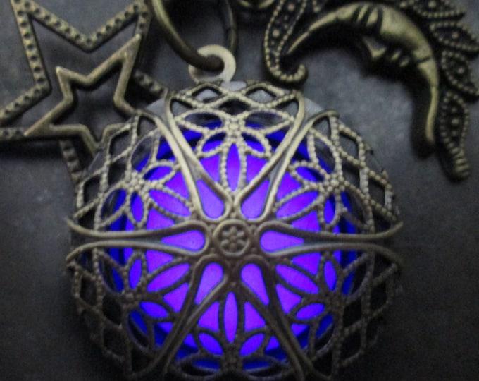 Moon and Stars Violet Mystic Glow Locket
