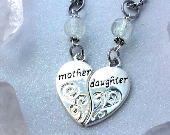 Mother Daughter glow in the dark Gift necklace Set