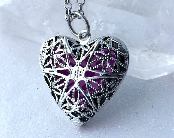 Glow Locket Violet Fairy Pendant Necklace Silver Heart