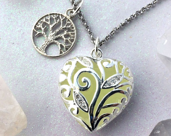 Heart of the Forest Glow in the Dark Necklace with Tree of Life Charm