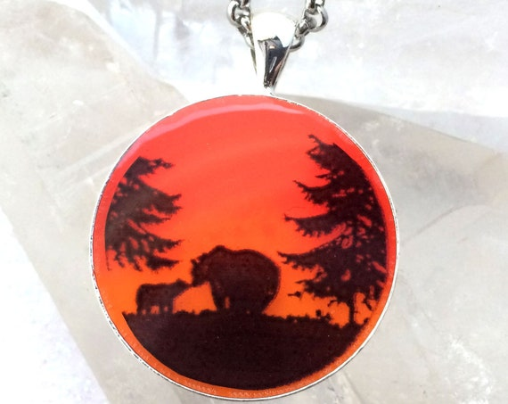 Bears at Sunset Glow Art Necklace