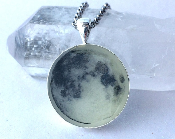 Full Moon Glow in the Dark Magic Necklace Galaxy Space Pendant Luna Celestial Glowie Handmade Art Real Glowing Moon Jewelry Round Light