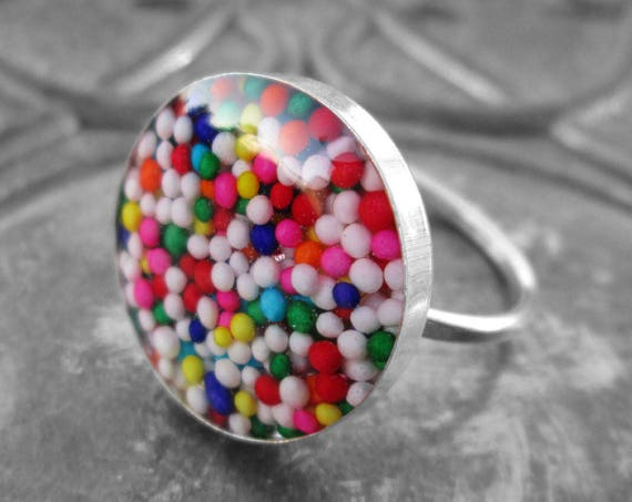 Handmade Genuine Sterling Silver Rainbow Candy Sprinkle Ring .925
