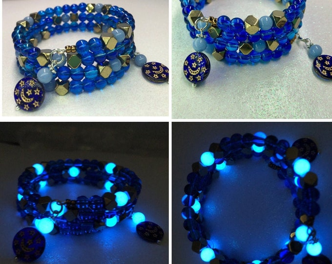 Blue Beaded Bracelet / Vintage moon and Star Beads / Hematite / Glow in the Dark / Wrap Adjustable